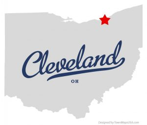 Map of Cleveland, Ohio, USA